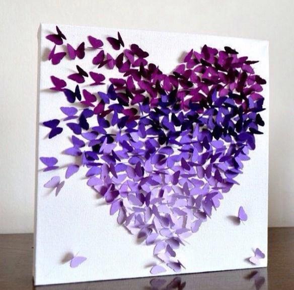 Tips til bilde sommerfugler satt på lerret i hjerteform