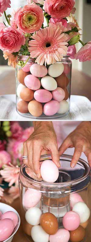 oppsats blomster og egg påske påskepynt