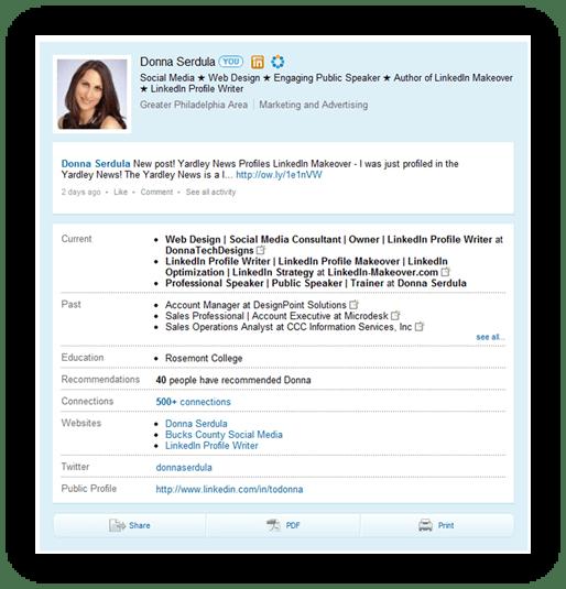 LinkedIn Profile circa 2010