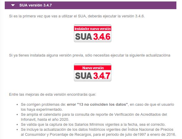 Descargar SUA en el portal del INFONAVIT