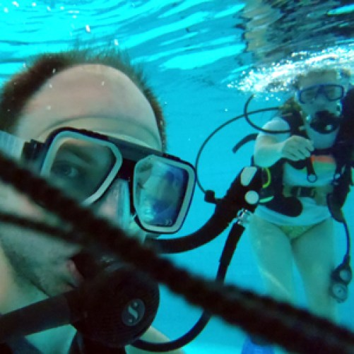 Scuba diving with handsome S