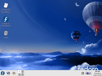 Fedora 7 Test 3 – featuring KDE live CD – /home/liquidat