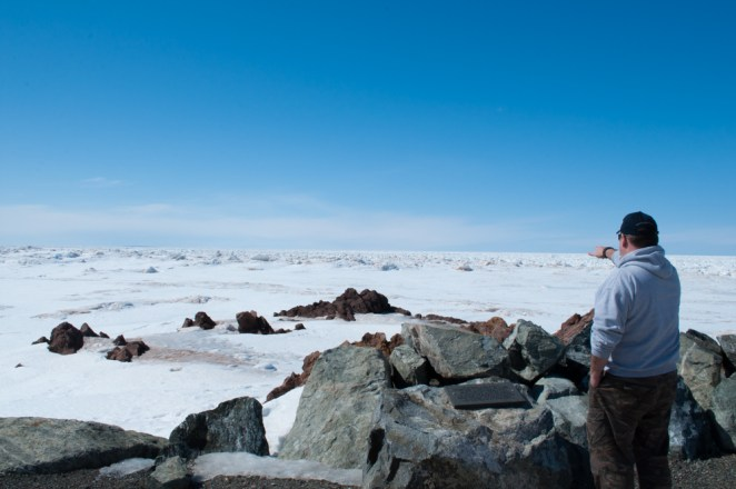 Jeff pointing out at the ice clogging up the Northumberland Strait.