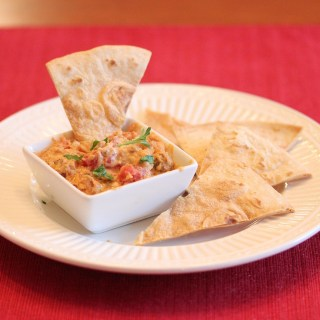 Sausage Cheese Dip with Baked Tortilla Chips