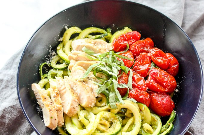 Lisa's Dinnertime dish:  Zucchini  Noodles with Roasted Tomatoes, Chicken and Pesto