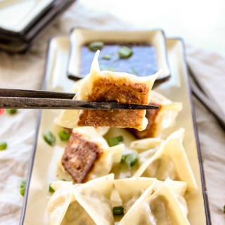 Pork Potstickers with Sesame Soy Dipping Sauce