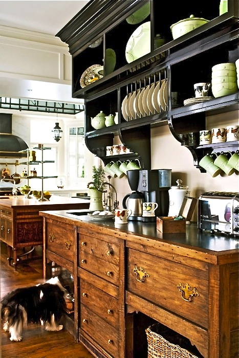 This is the perfect look for my beverage and bar center–even has a doggie bowl area