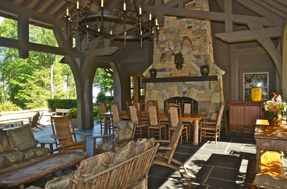 Perfection–living, dining, stone fireplace... an entertainers dream