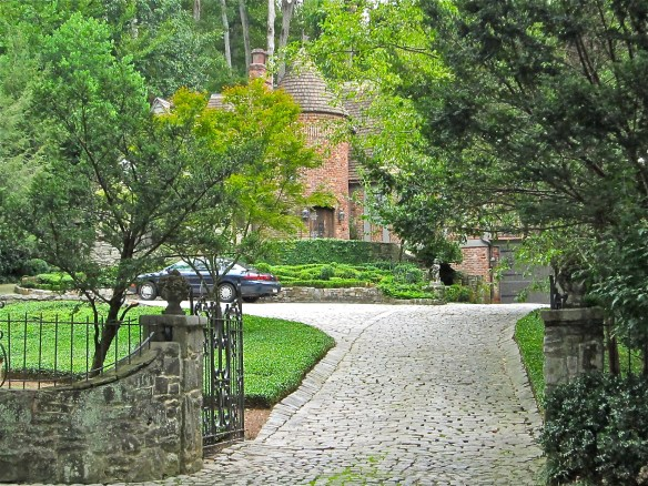 Front gate and cobblestone driveway–welcome