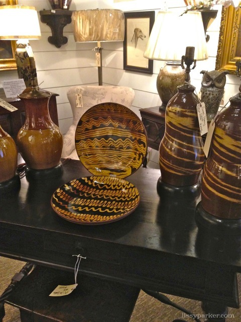 Yellow ware plates and lamps