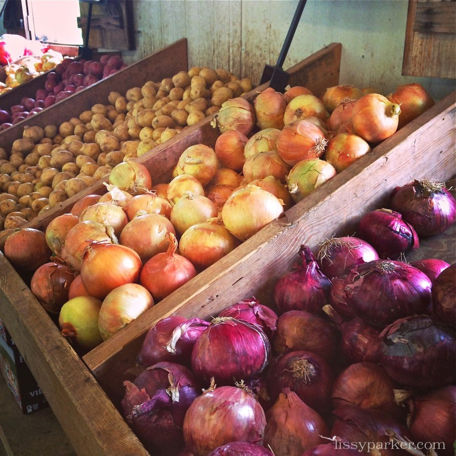 Sweet Vidalia onions and red ones too—note to Martha; they are not Vi-doll-ya