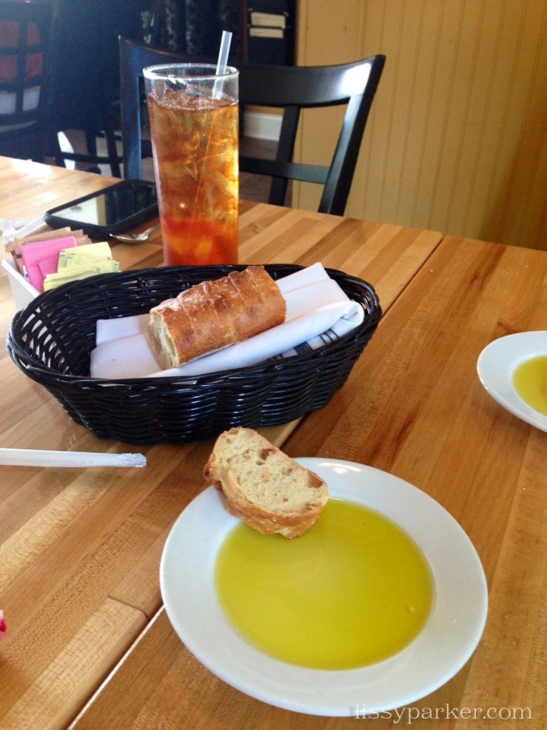 Crusty French bread, olive oil and the perfect glass of tea ...only the beginning