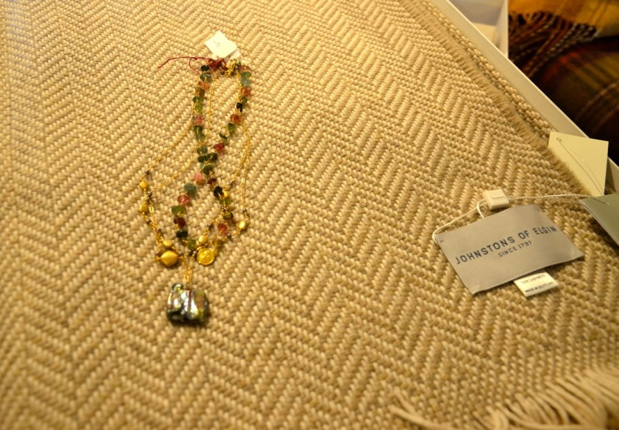 Herringbone Cashmere and jewelry—whats not to love