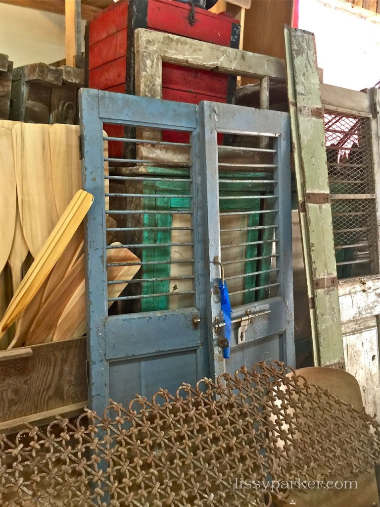 Great blue shutter doors—would be great for a laundry room or pantry door