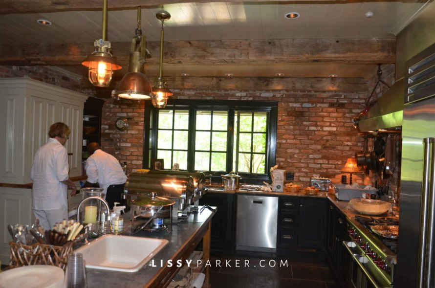 This kitchen was my favorite room—brick walls and stainless steel