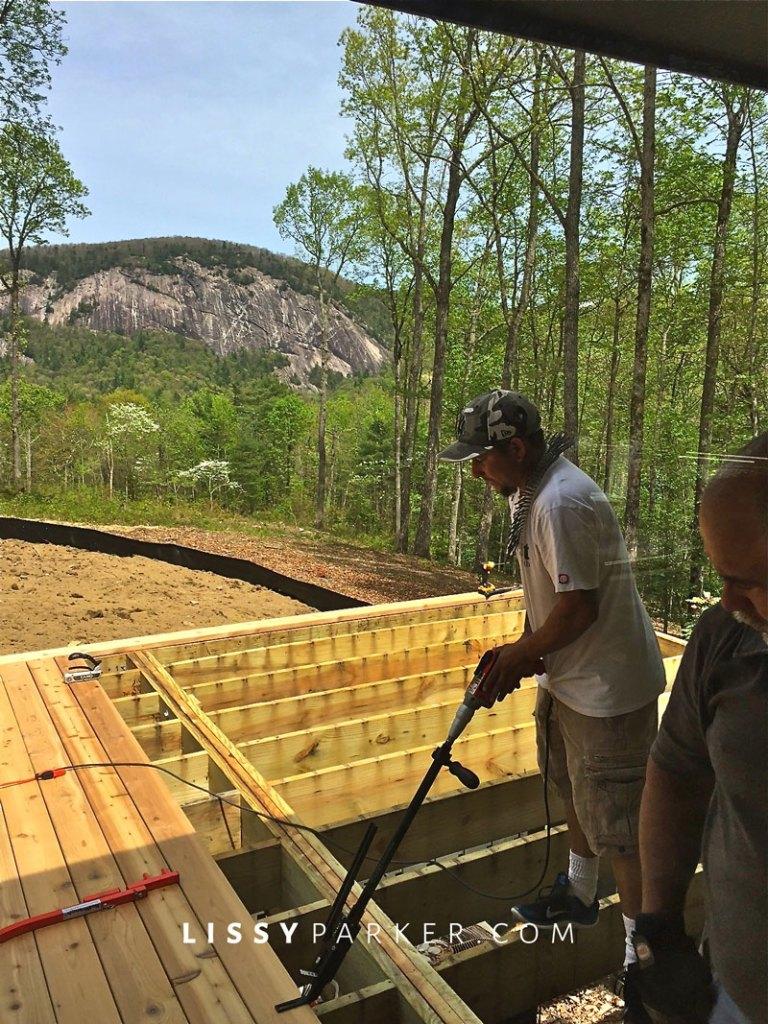 Cedar decking instillation and mountain view