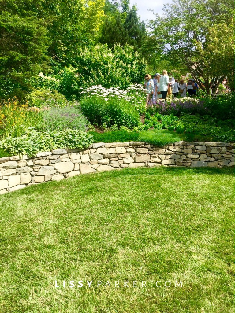 lawn and stone wall