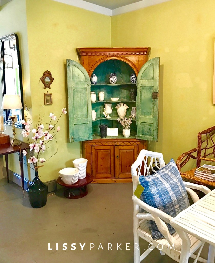 green painted china cabinet