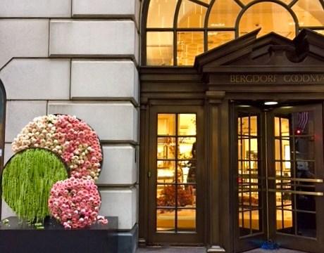 pink and green circular floral arrangment