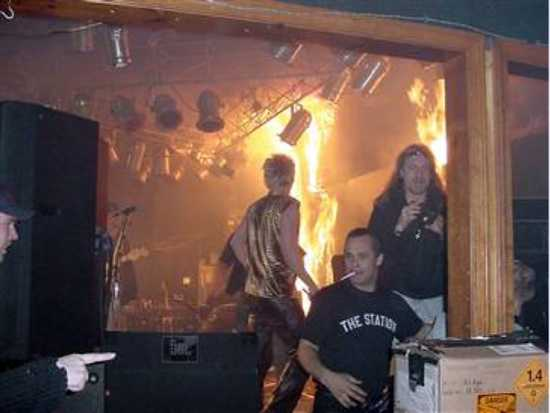 Seconds After Pyrotechnics Ignite Stage Wall Behind Great White Band