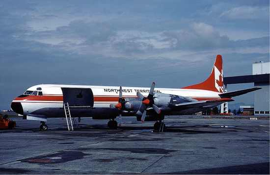Nwt Air Lockheed Electra At Vancouver Airport In August 1983