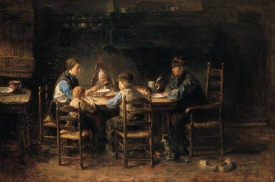 Peasants eating dinner