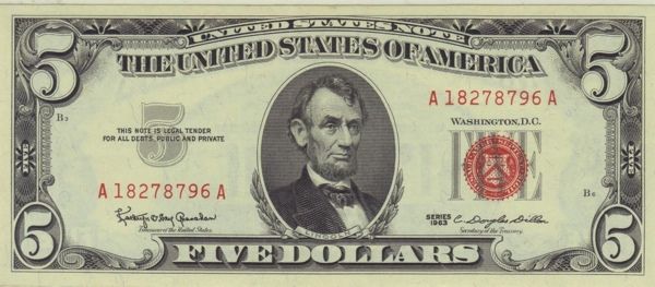 Jfk $5 U.S. Note 001