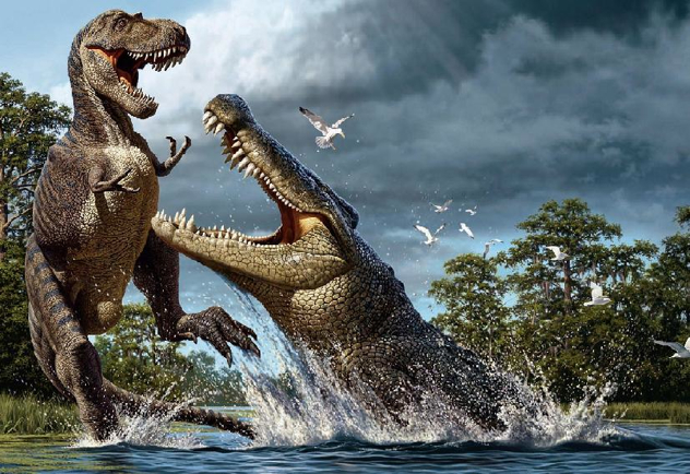 Deinosuchus And Albertosaurus