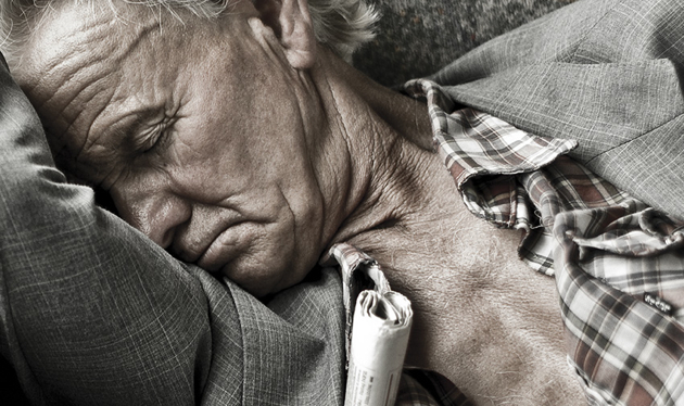 Old Man Sleeping In A Bus By Chlorell