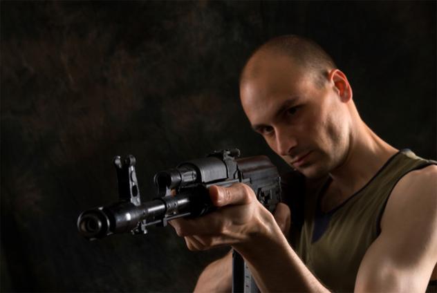 man with the Kalashnikov gun