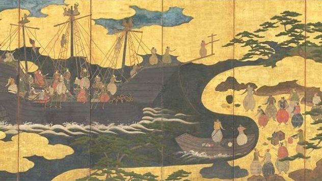800px-6-panel_Nanban_screen,_A_Portuguese_Ship_Comes_to_Trade