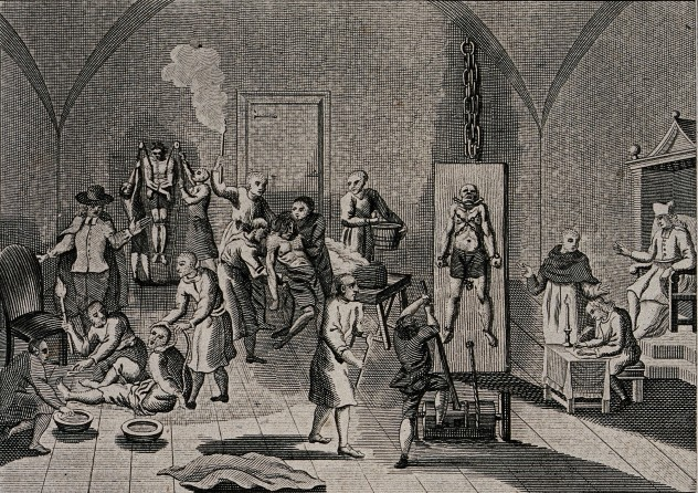 V0041650 The inside of a jail of the Spanish Inquisition, with a prie