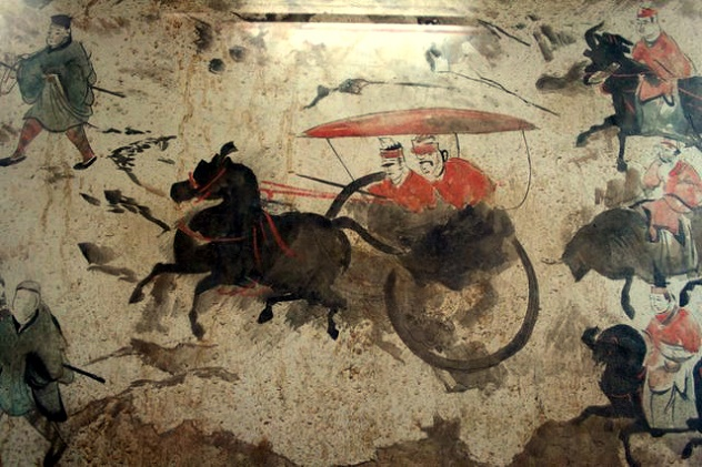 Eastern_Han_Dynasty_tomb_fresco_of_chariots,_horses,_and_men,_Luoyang_2