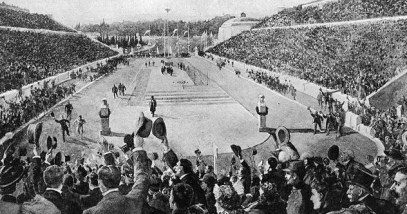 0_Louis_entering_Kallimarmaron_at_the_1896_Athens_Olympics