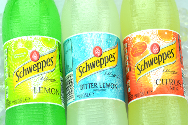Bottles of Schweppes