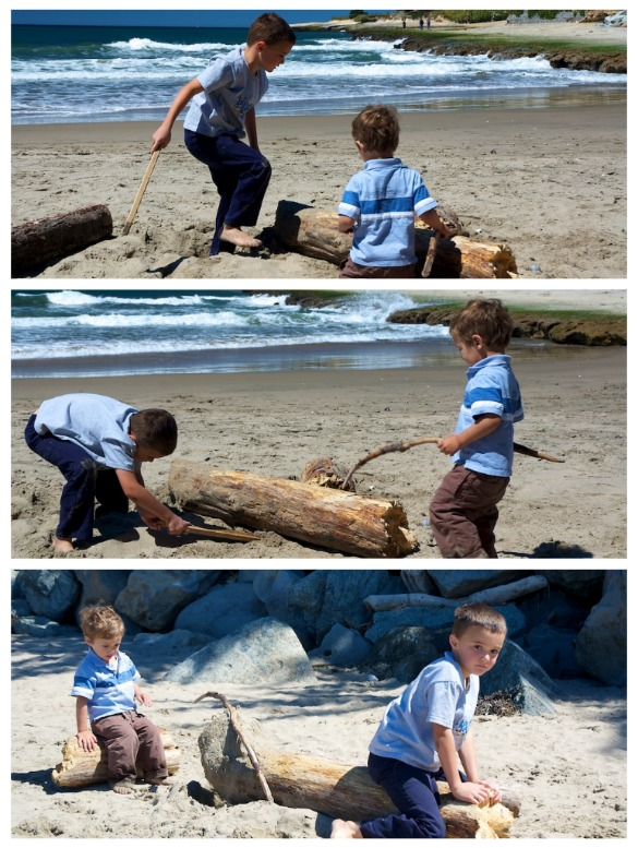 boys on the log at the beach