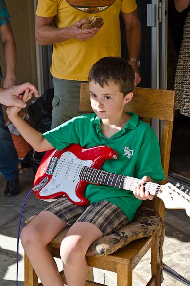 Hunter on his guitar