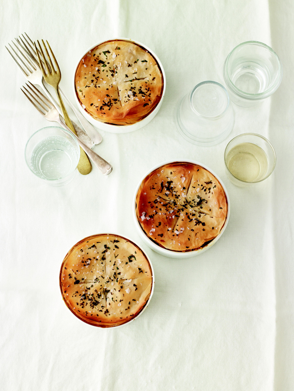 Vegetable Potpies with Barley and Cannellini Beans