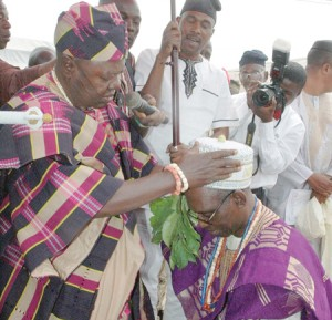 """A University don's investiture as """"Asiwaju of Okeho"""" by the Oyo state town, Okeho's monarch. Photo: The Nation"""
