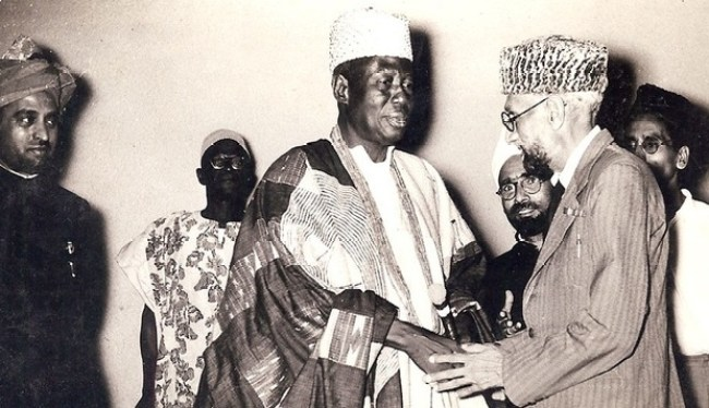 The pioneer Ahmadi Muslim medical missionary to West Africa, M. Shah Nawaz Khan Meeting with the king of Lagos Oct 1960