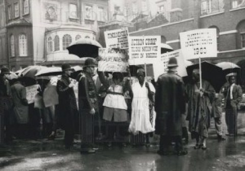 Nigerians in London advocating for independence from imperial rule.
