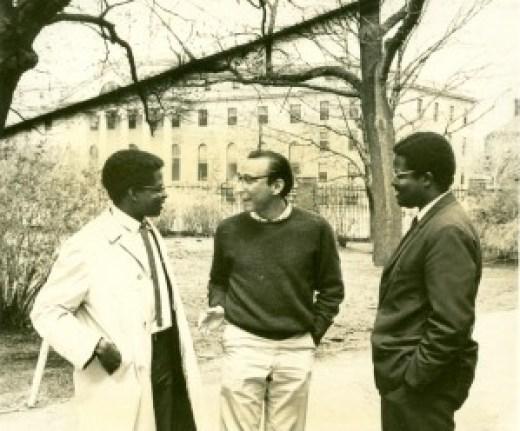 Meritocrat Nigerian students at Harvard converse with friends.