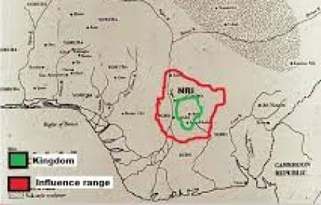 Map showing the extent of Nri influence in Eastern Nigeria