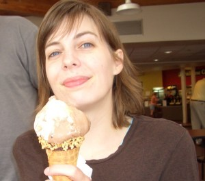Me at the Tillamook Cheese Factory in 2008, looking exactly like my mom and eating ice cream.