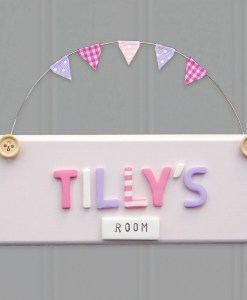 pink bedroom door sign