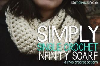 Simply Single Crochet Infinity Scarf  |  a free crochet pattern by Little Monkeys Crochet