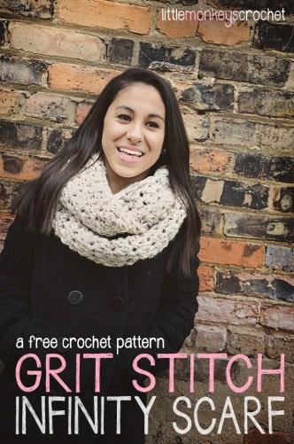 Grit Stitch Infinity Scarf  |  a free crochet pattern by Little Monkeys Crochet