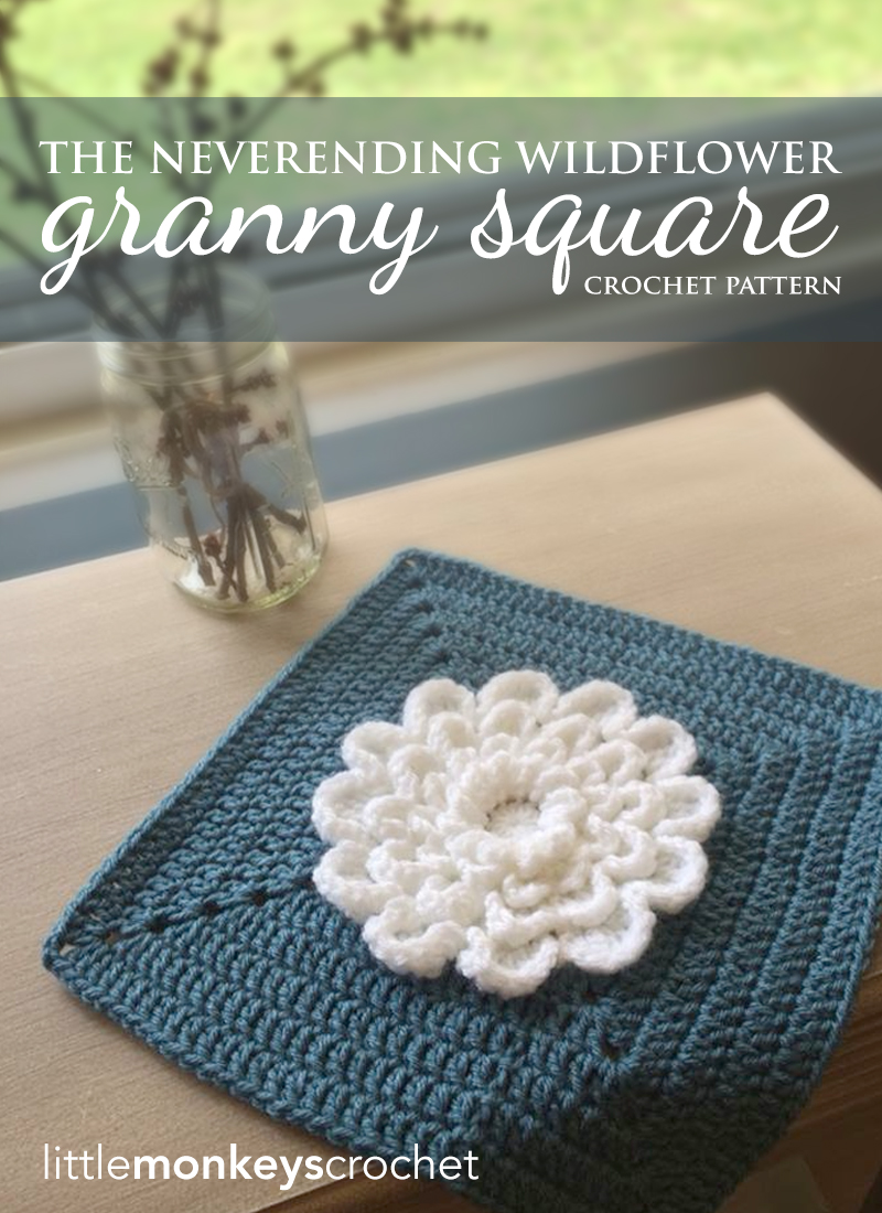 The Never Ending Wildflower Granny Square Crochet Pattern  |  Free Crochet Pattern by Little Monkeys Crochet (www.littlemonkeyscrochet.com)