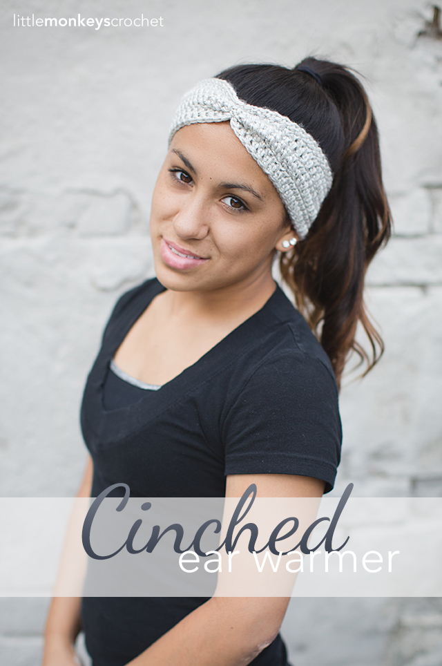 Cinched Ear Warmer  |  Free Ear Warmer Headband Crochet Pattern by Little Monkeys Crochet