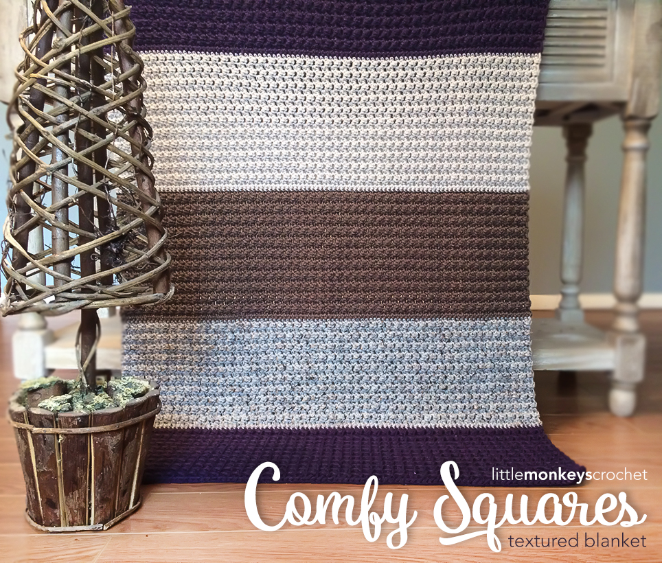 Comfy Squares Textured Blanket Crochet Pattern  |  Free Lap Blanket Crochet Pattern by Little Monkeys Crochet